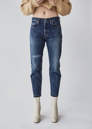 Narrow Tapered Cut Denim in Medium Distress