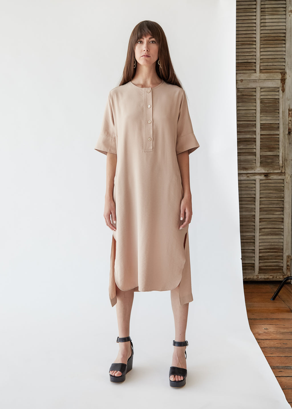 Row Dress in Pink Sand