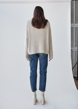 Rib Boucle Pullover in Oyster