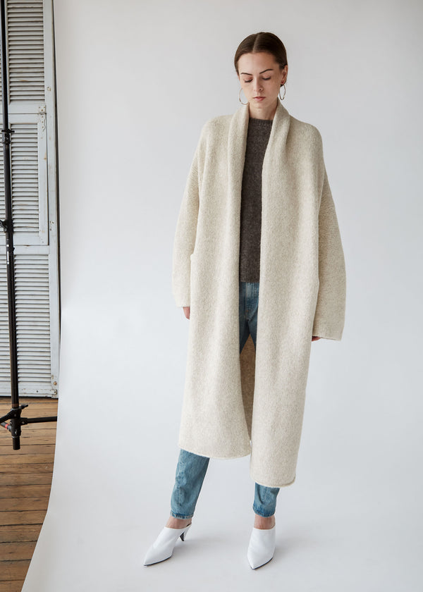 Long Shawl Cardigan in Hessian