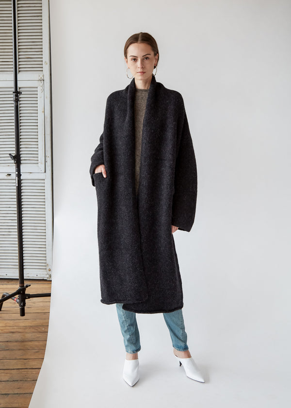 Long Shawl Cardigan in Black Melange