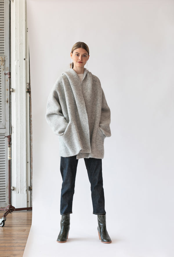 Double Face Coat in Pebble