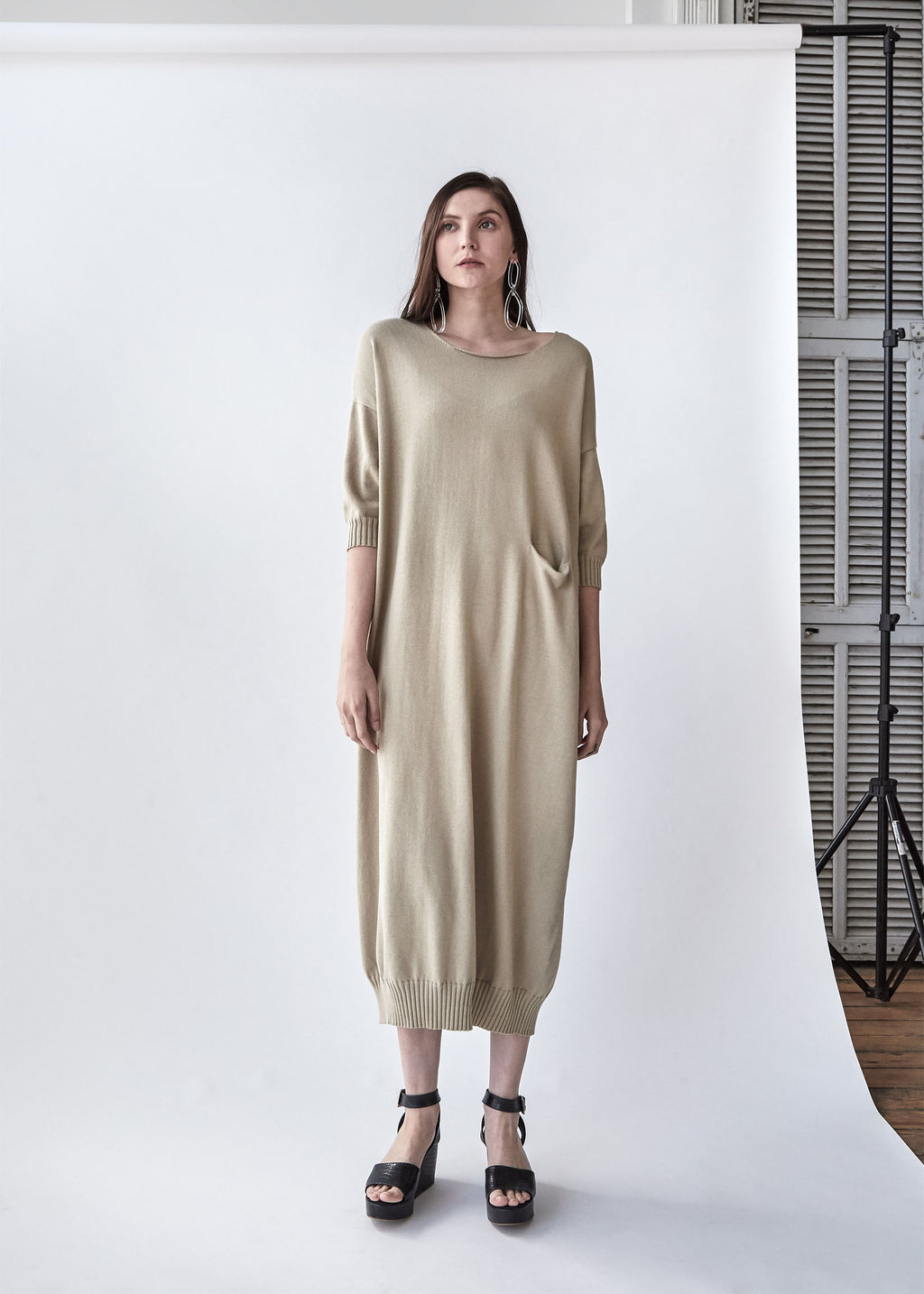 Big Crewneck Dress in Antique