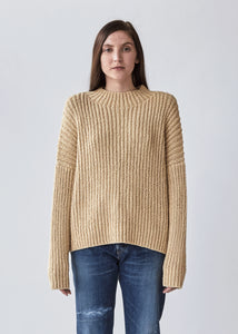 Rib Boucle Pullover in Straw - SOLD OUT