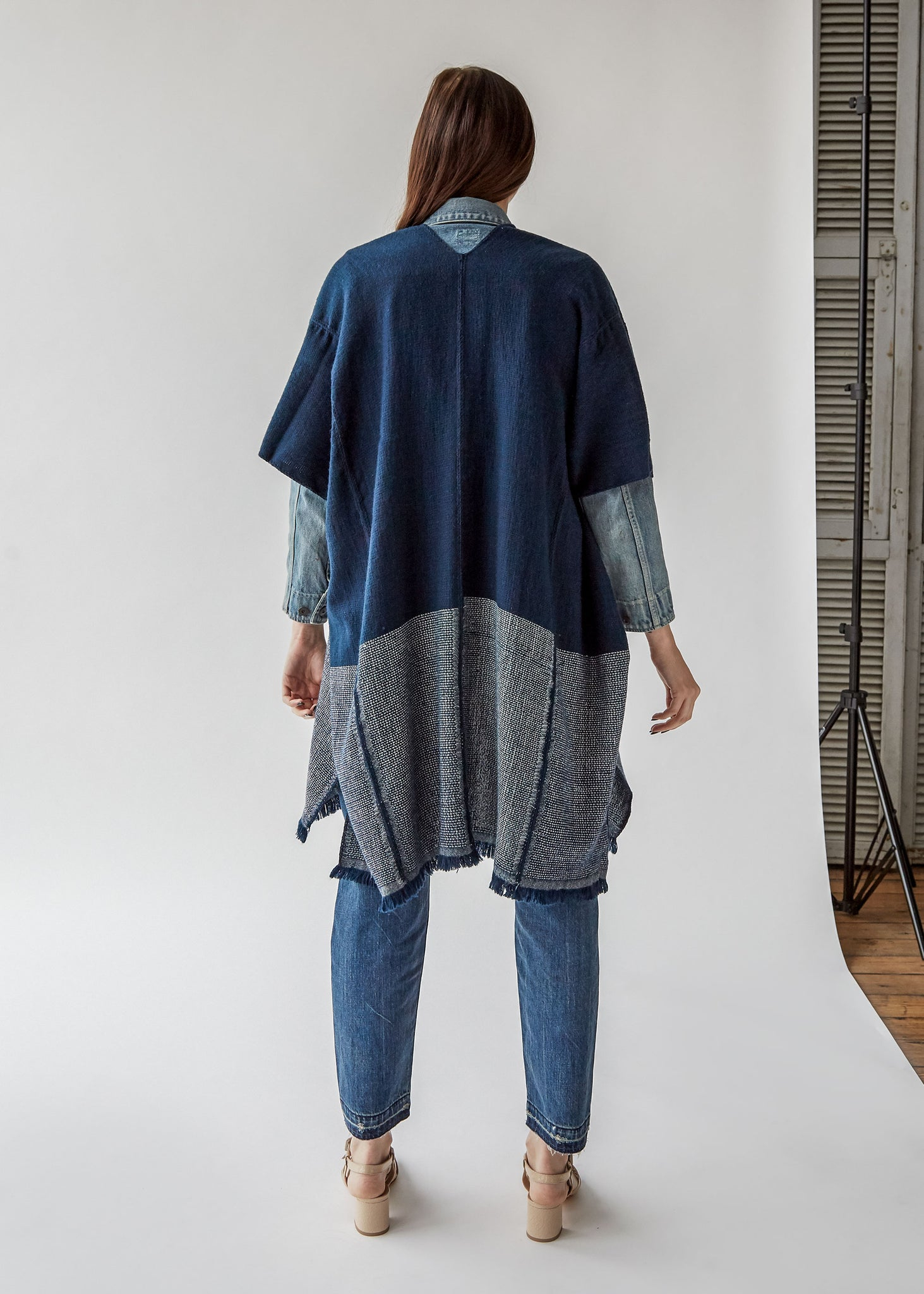 Annelise Cocoon Wrap in Navy/Ivory