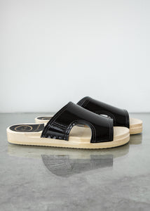 Alexis Cut Out Slide on Flat in Black Patent