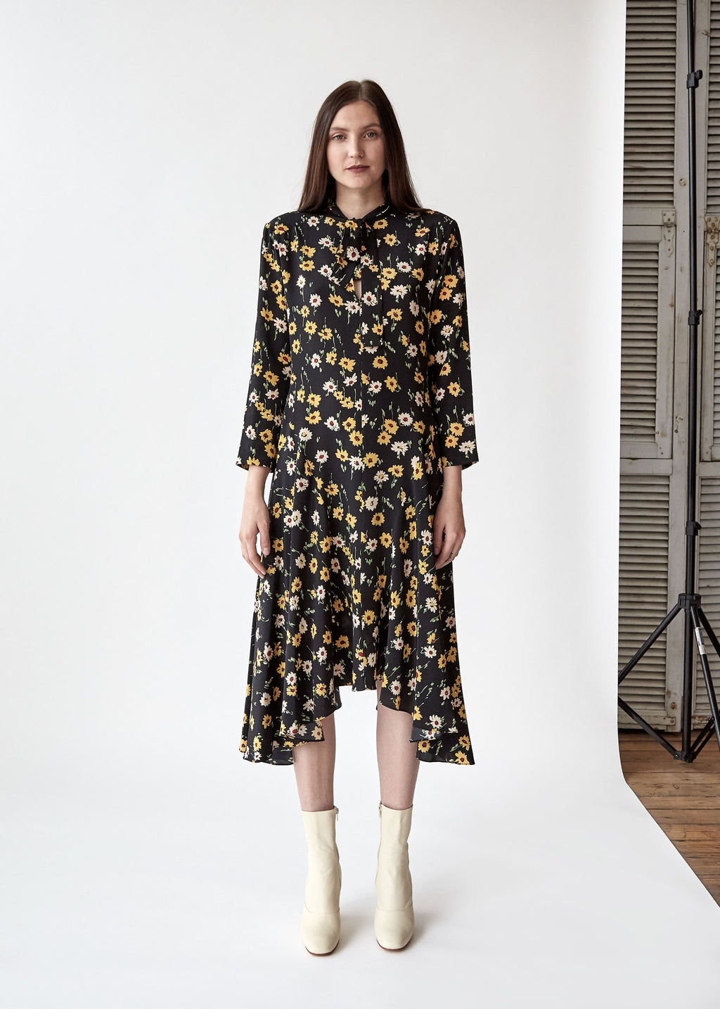 Nessa Tie Dress in Black/Yellow Floral