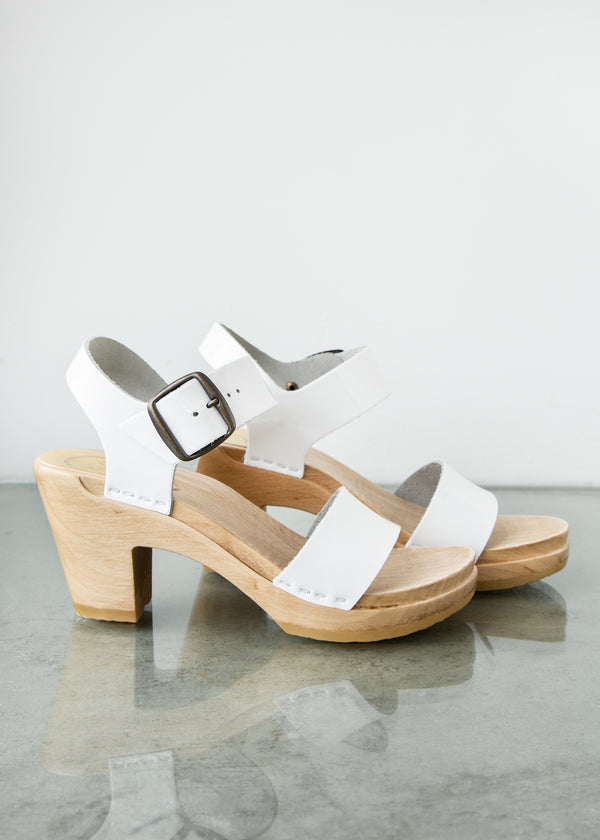 Two Strap Clog on High Heel in White Patent