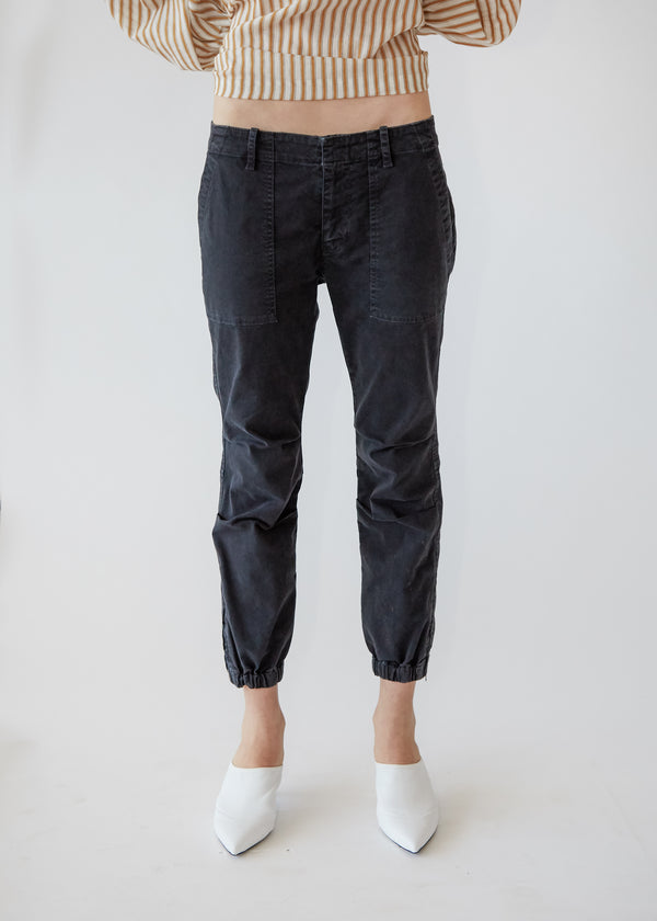 Cropped Military Pant in Carbon