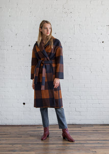 No.6 Ingrid Wrap Coat Ochre/Navy Plaid - SOLD OUT