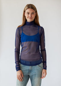 Long Sleeve Mesh Mockneck in Marine