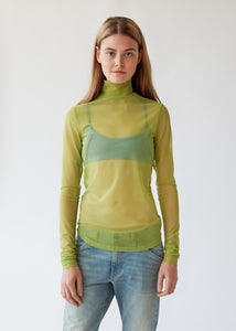 Long Sleeve Mesh Mockneck in Kiwi