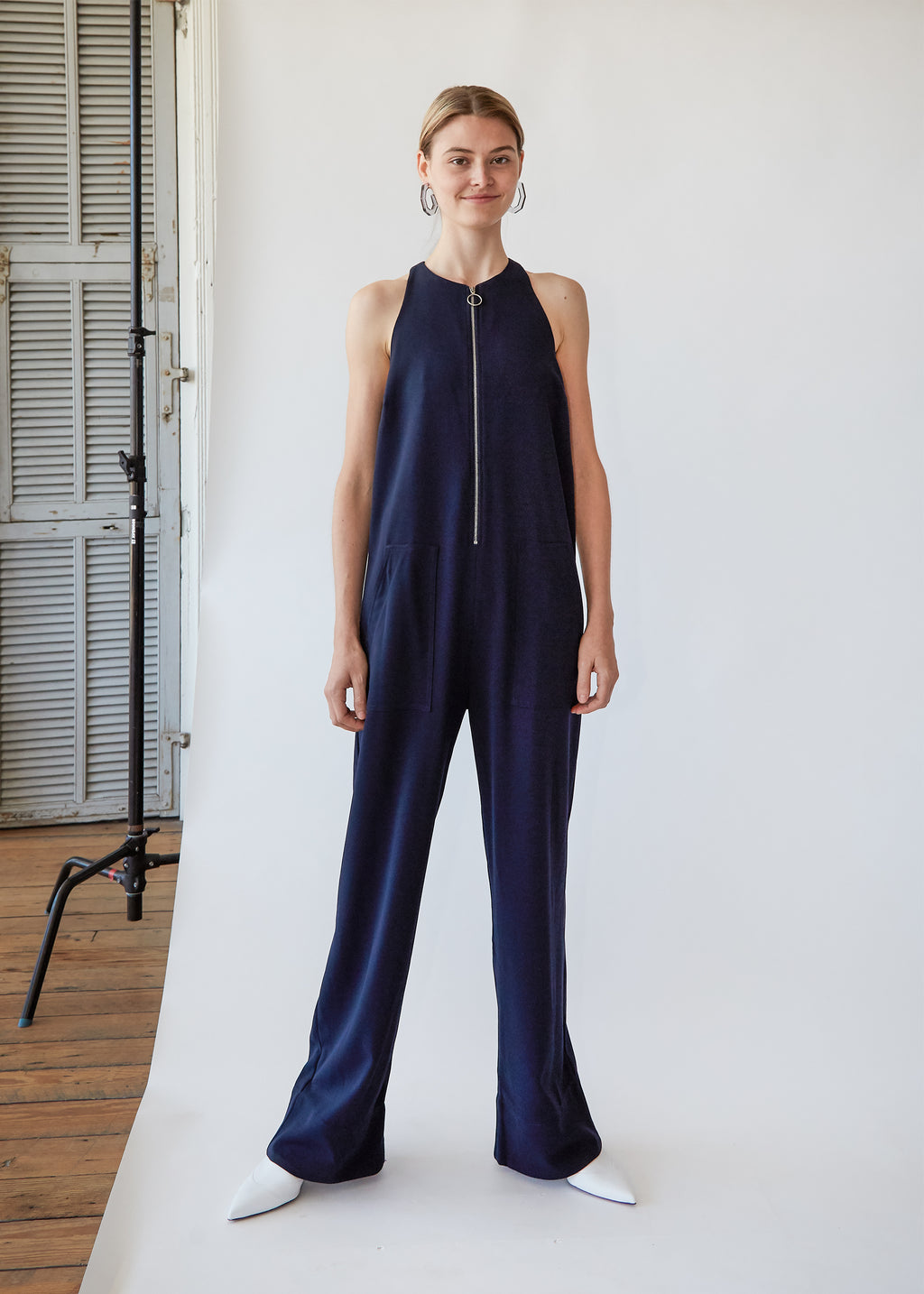 Zip Front Jumpsuit in Midnight