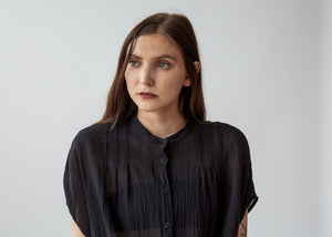 Pleat Blouse in Black - SOLD OUT