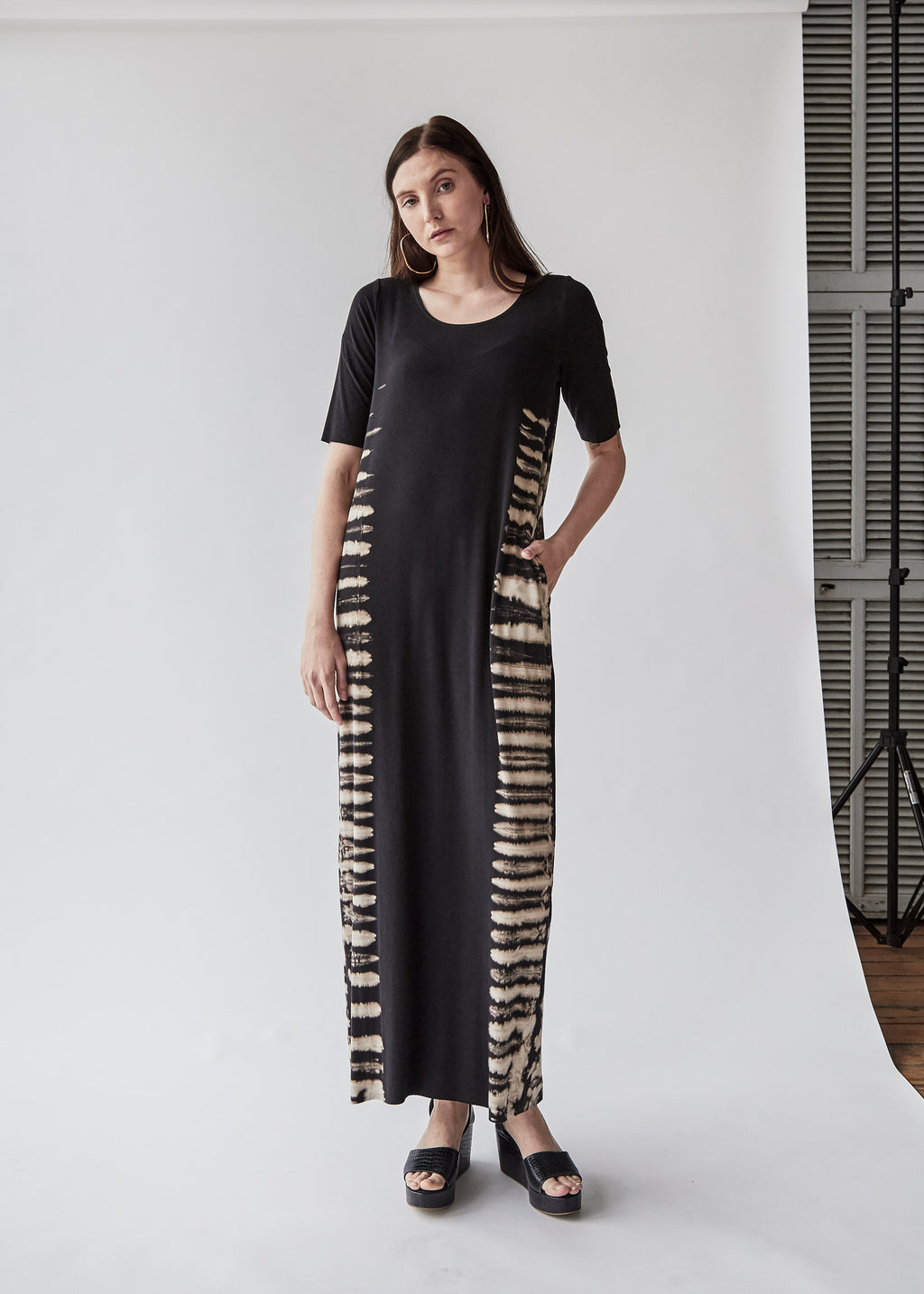 Column Dress in Black Earth - SOLD OUT