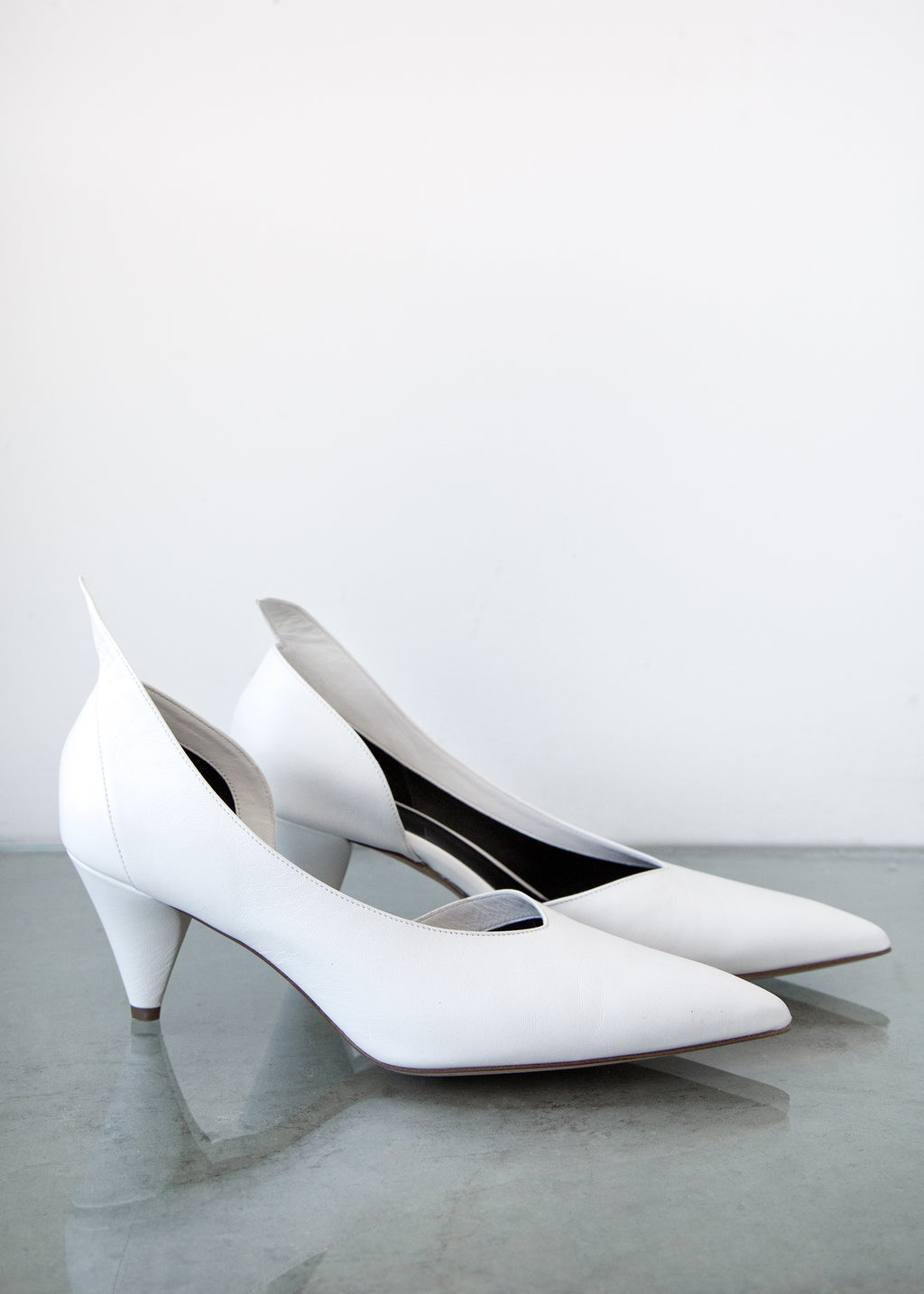 Fount Heel in White Leather