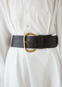 Wide Estate Belt in Black Leather - SOLD OUT