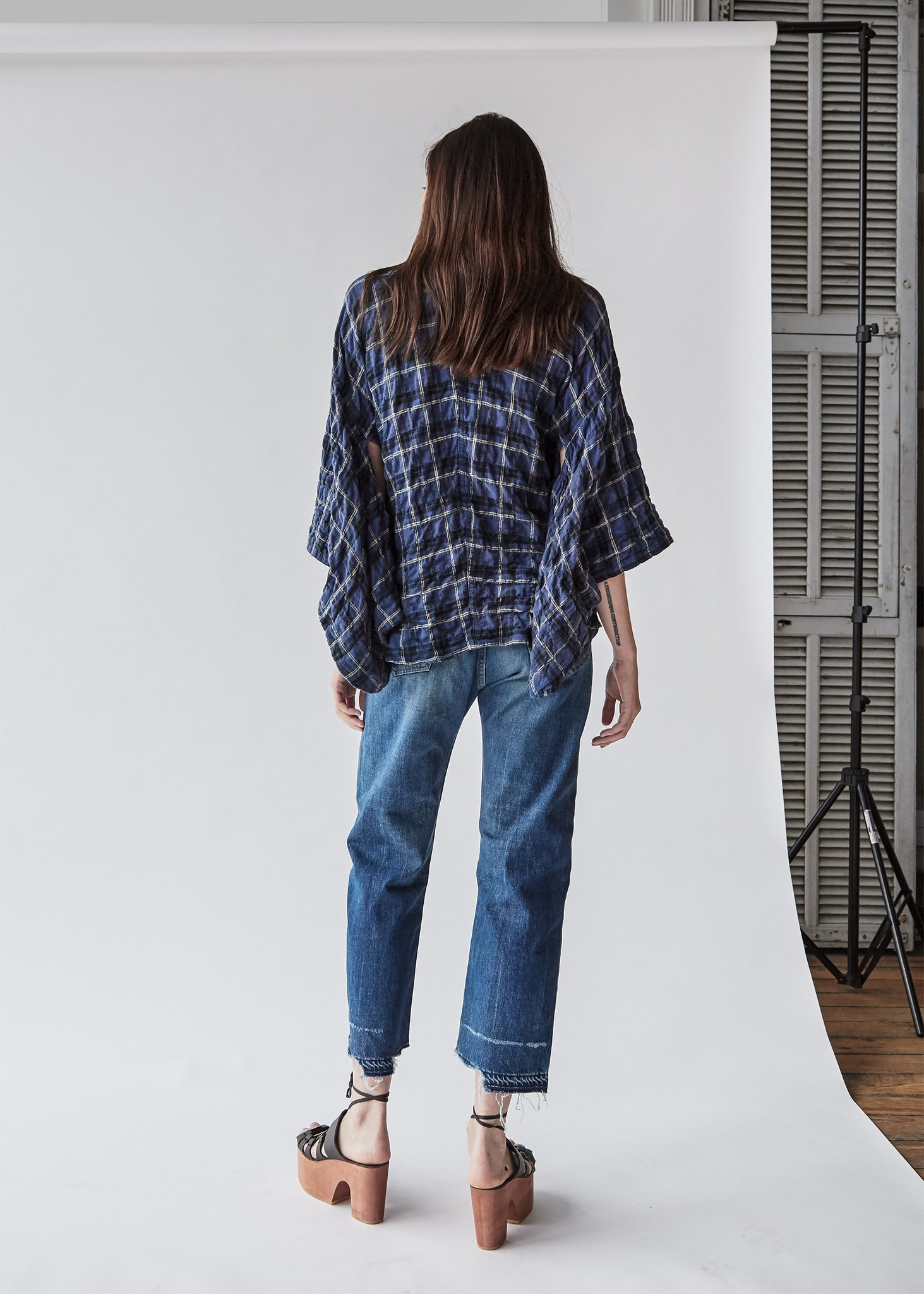 Kimono Shirt in Blue/Yellow Plaid - SOLD OUT