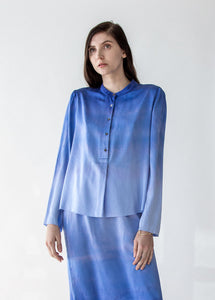 Silk Tie Dye Blouse in Blue Tides - SOLD OUT