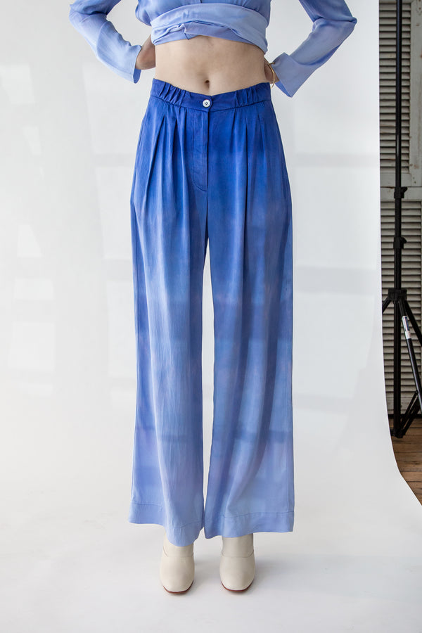 Keaton Soft Trouser in Blue Tides Tie Dye