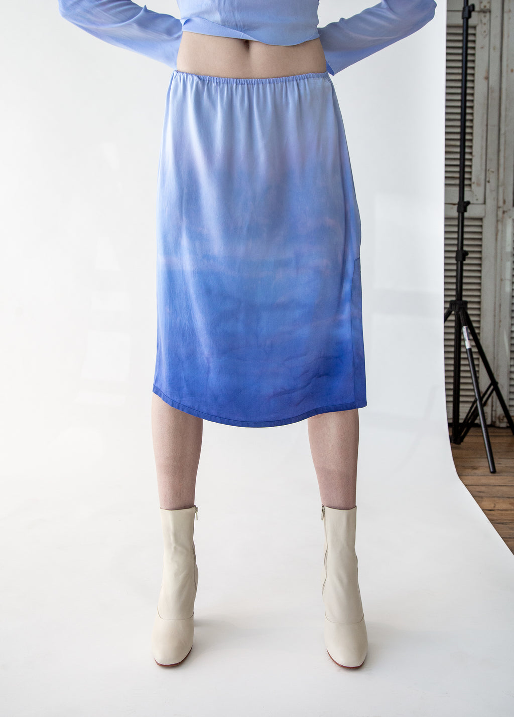 Silk Tie Dye Slip Skirt in Blue Tides