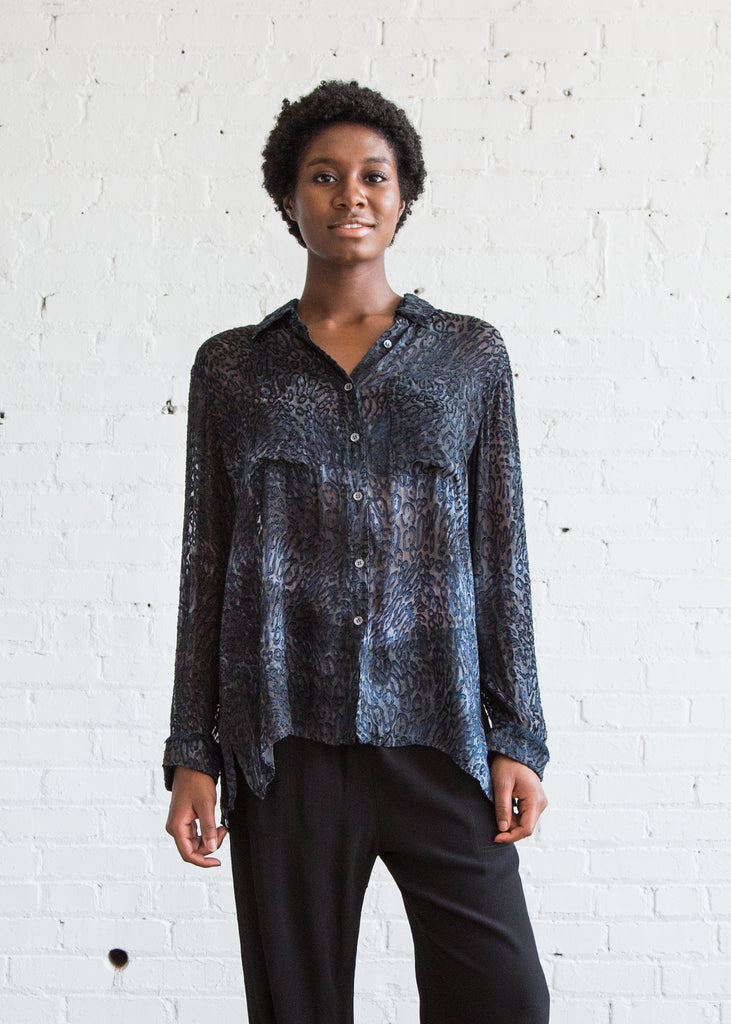 Raquel Allegra Oversized Button Up Ink/Leopard