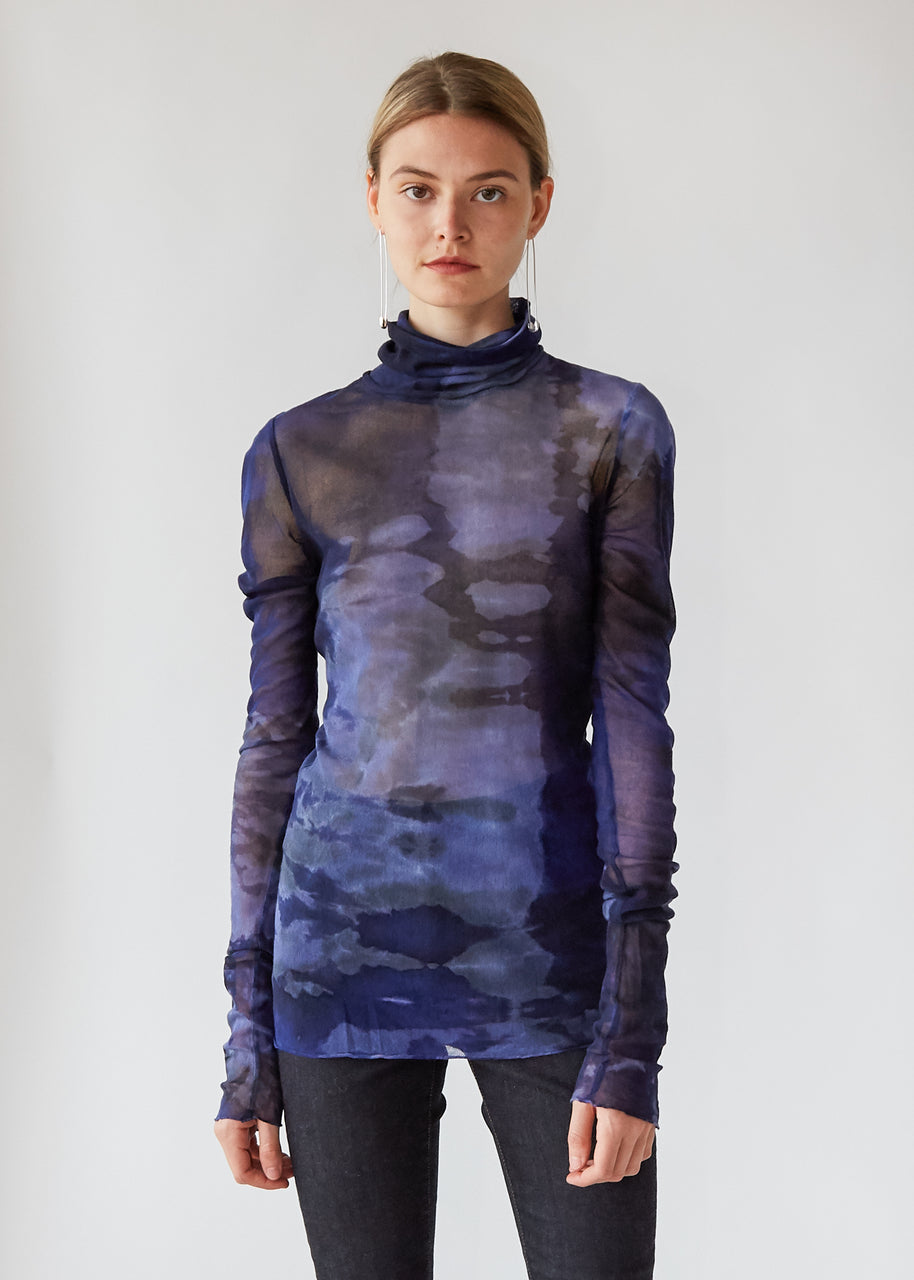 Fitted Turtleneck in Sapphire Tie Dye