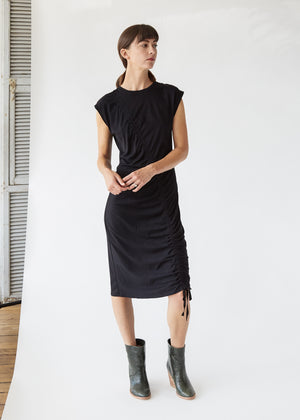 Gathered Tie Mid Dress in Solid Black - SOLD OUT