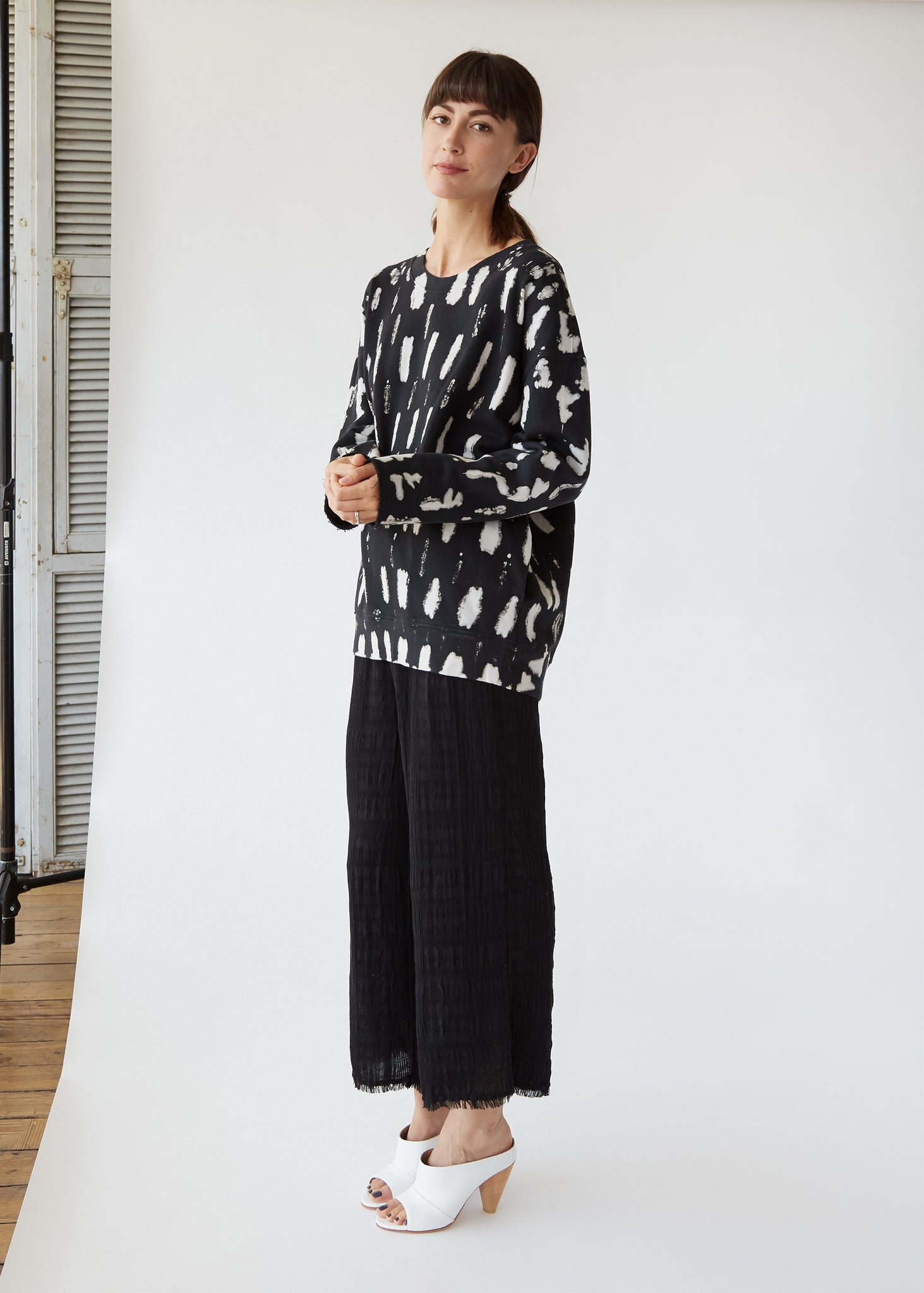 Oversize Sweatshirt in Fleece/Black TD
