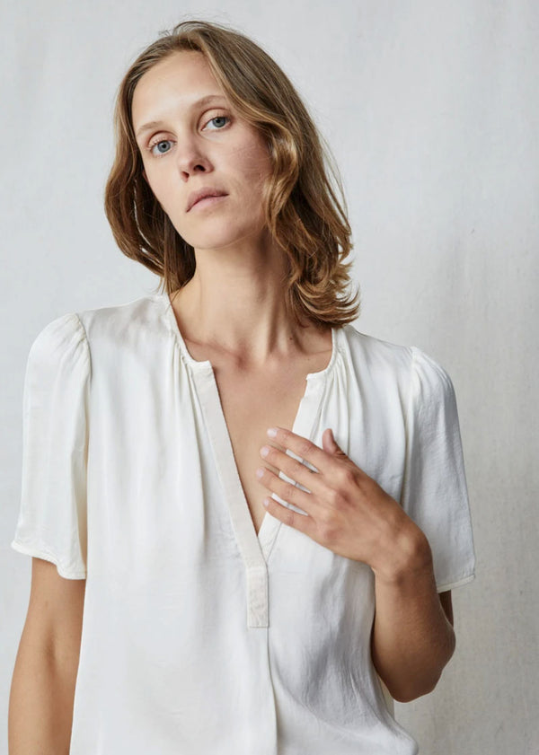 Grosgrain Blouse in Cream