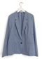 Tropical Wool Mini Lapel Blazer in Blue Plaid