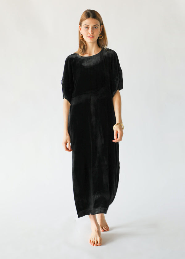 Puff-Sleeve Dress in Black