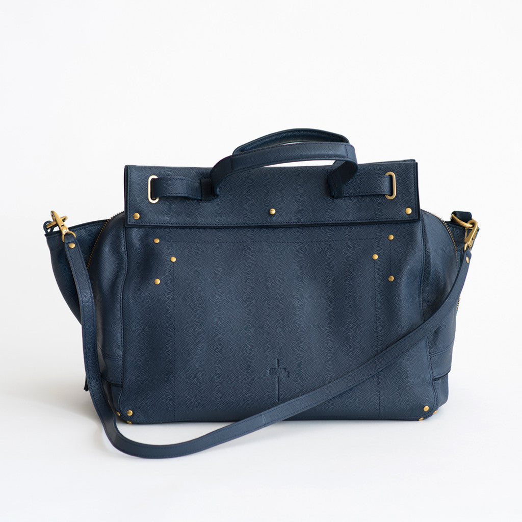 Jerome Dreyfuss - Jerome Dreyfuss Carlos Bag Caviar Cowskin Navy - Finefolk - 1