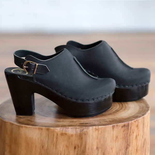 No. 6 - No. 6 Closed Toe Front Seam Clog Coal with Black Base  -  Finefolk - 1