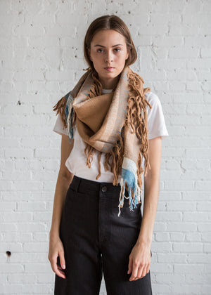 A Detacher Fringe Scarf Sand/Sky - SOLD OUT