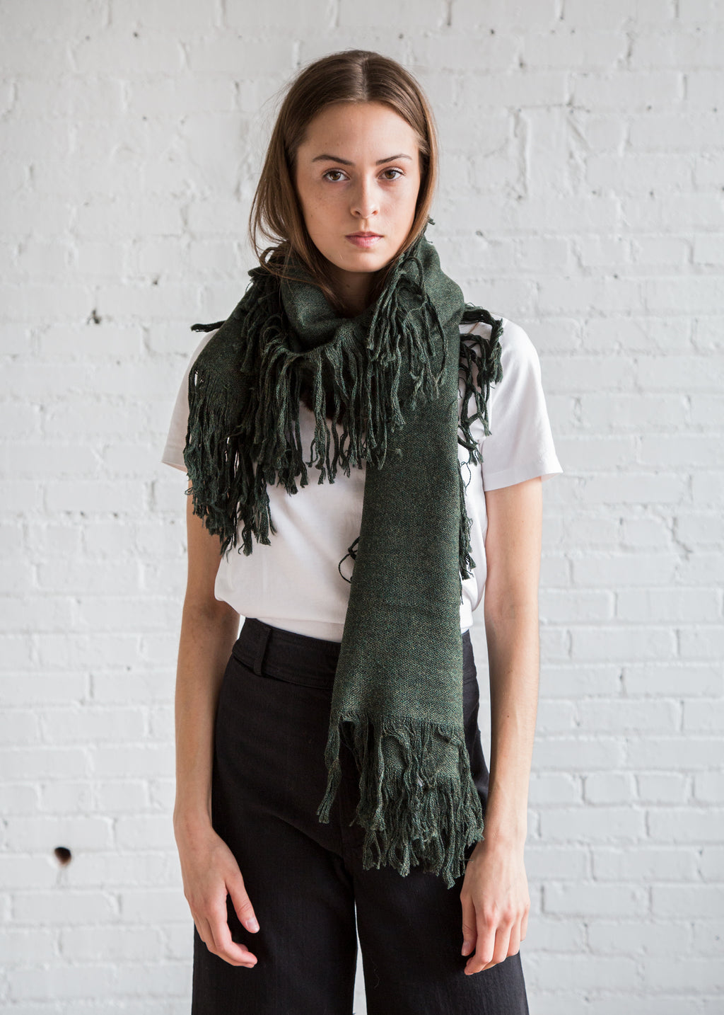 A Detacher Fringe Scarf Dark Green - SOLD OUT