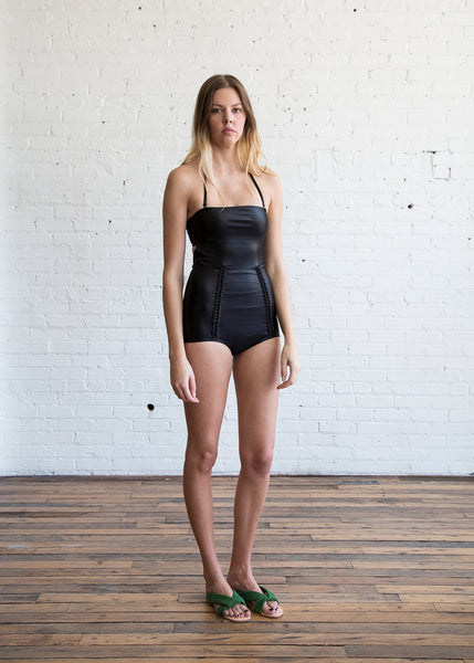 A Detacher Margot Swimsuit in Shiny Black