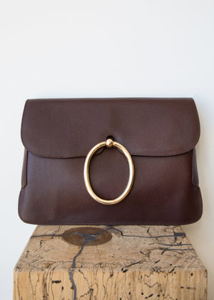 Lou Clutch Pebble Prune Leather
