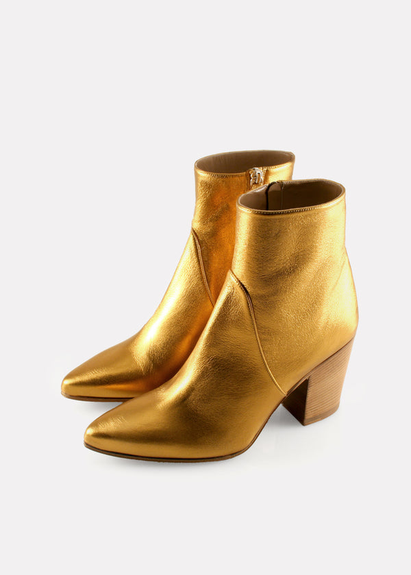 Point Toe Boot in Nappa Metallic Bronze