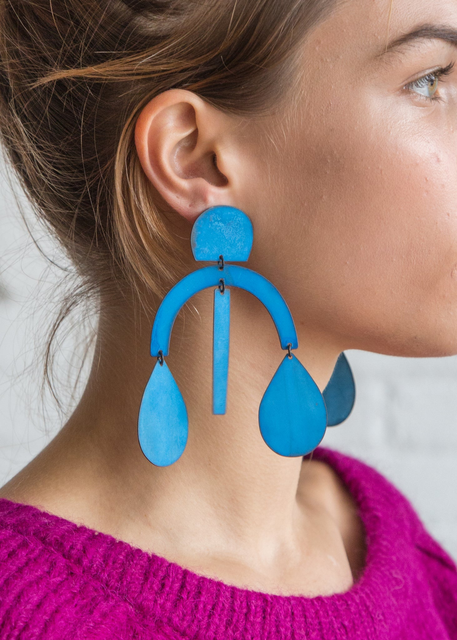 Annie Costello Brown Arc Drop Earring Blue Patina