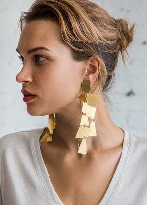 Annie Costello Brown Mika XL Earring Gold