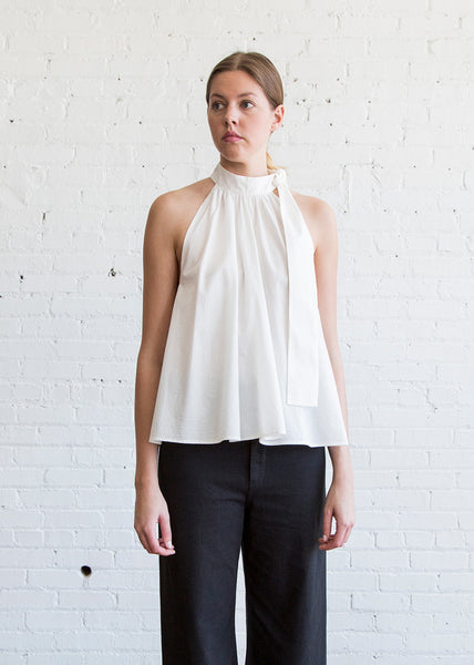 Apiece Apart Medina Tie Neck Top White