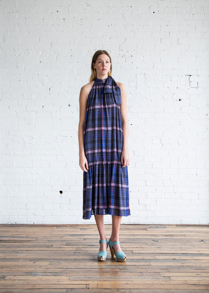 Apiece Apart Solazure Tie Neck Dress Twilight Madras - SOLD OUT