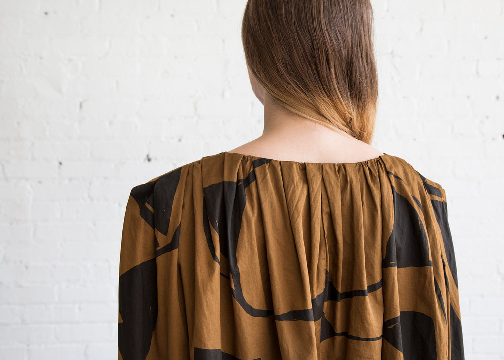 Black Crane Accordion Dress Teak/Black - SOLD OUT