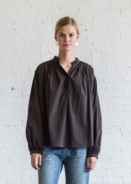 Black Crane Balloon Sleeve Blouse Charcoal - SOLD OUT