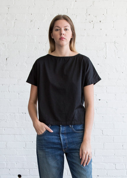Black Crane Boat Neck Top Black