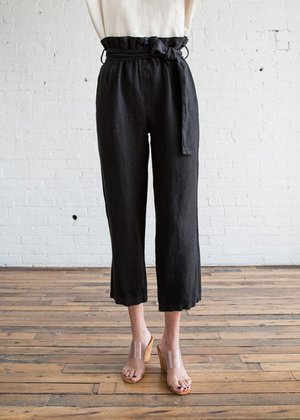 Black Crane Burlap Pants Black