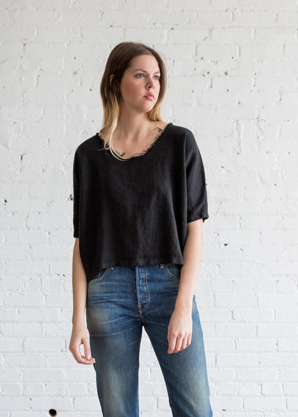 Black Crane Dolman Top Black