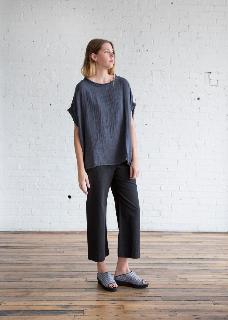 Black Crane Double Gauze Square Top Dark Grey - SOLD OUT
