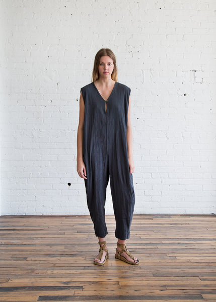 Black Crane Gathered Jumpsuit Dark Grey - SOLD OUT